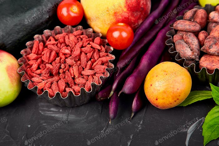 Healthy colorful food selection: fruit, vegetable, superfood,