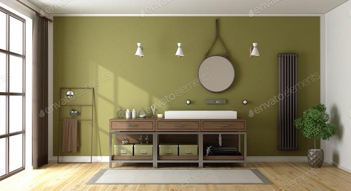 Green bathroom with washbasin