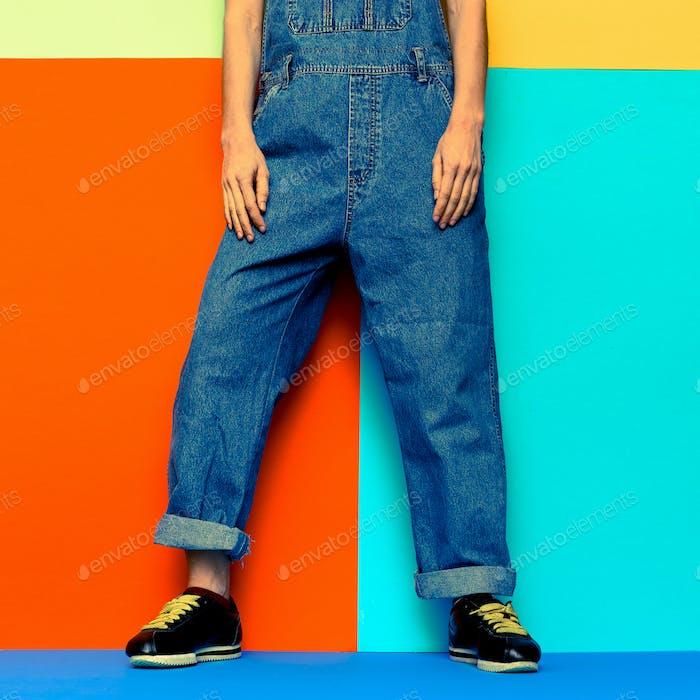 Stylish Jumpsuit. Urban.Keds and Fashion denim clothes Minimal C