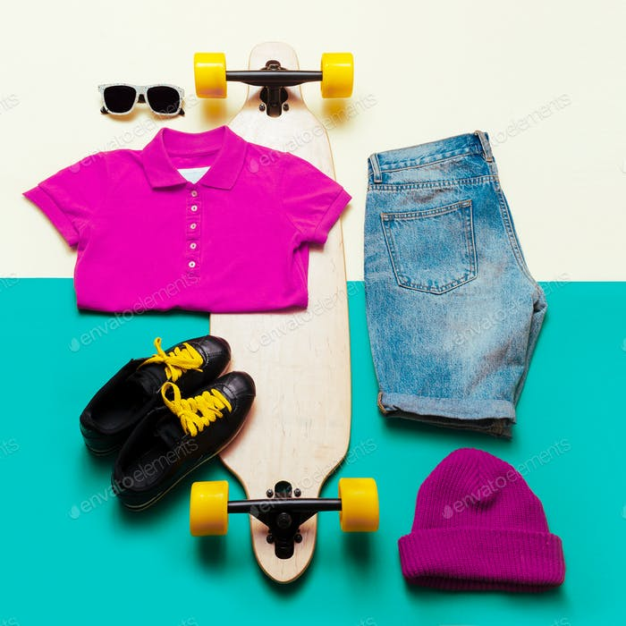 Urban style set. Accessories. Jeans T-shirt glasses. Skateboard