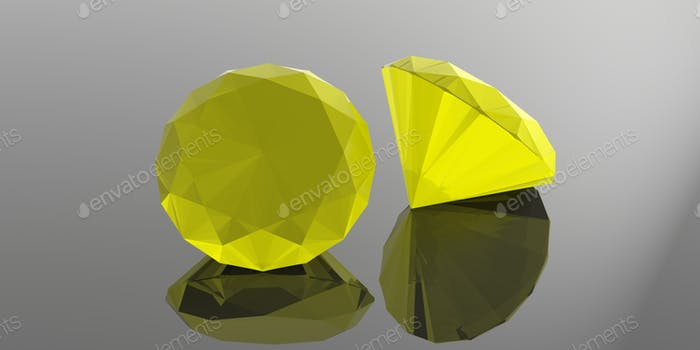 Yellow diamonds on grey background. 3d illustration