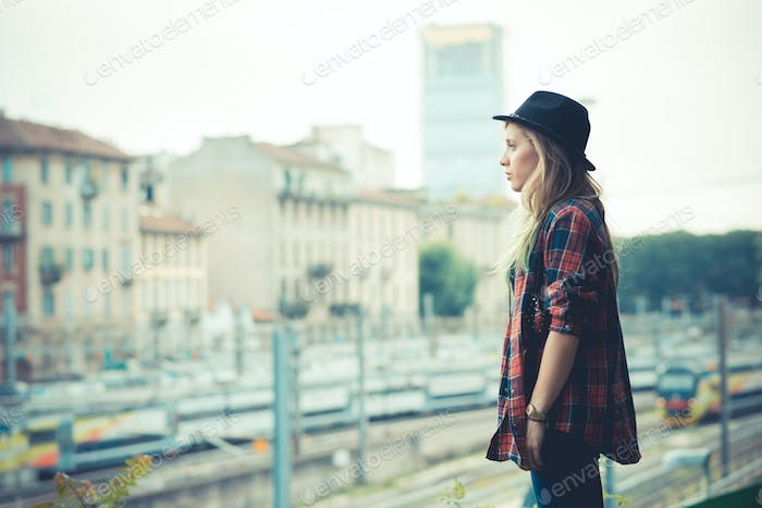 beautiful young blonde hair woman hipster