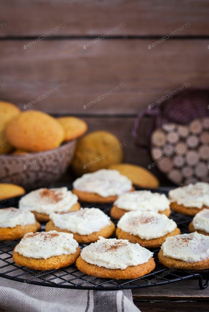 Homemade pumpkin spice cake cookies with glaze