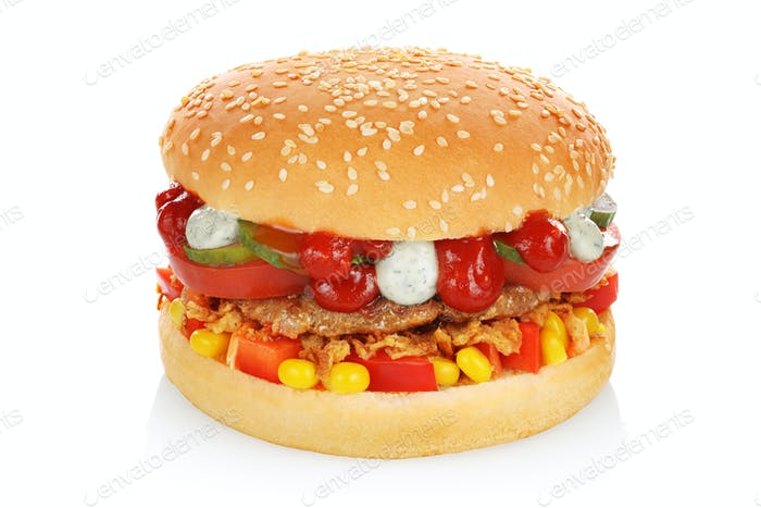 Big hamburger isolated