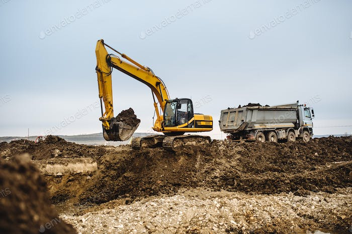 Industrial heavy duty machinery, details of excavator building highway