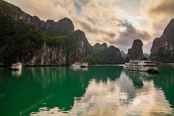 Halong bay sunset in Vietnam. Amazing view