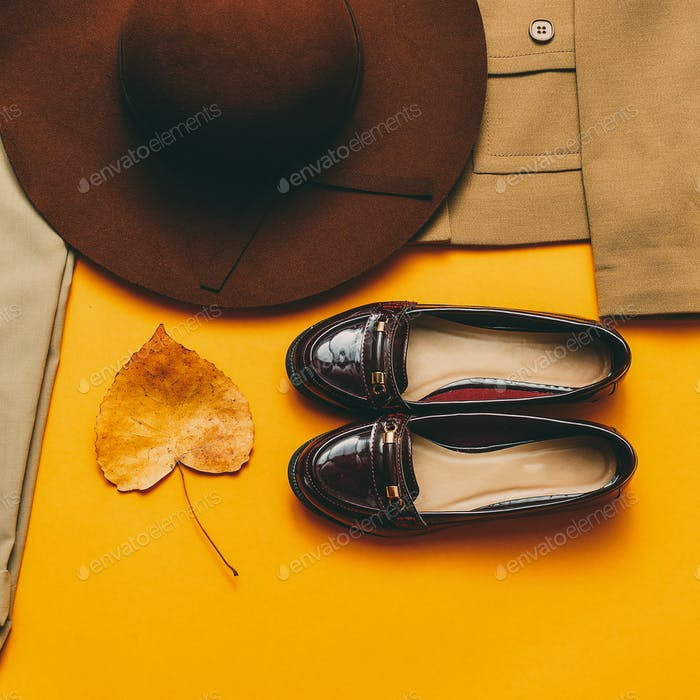 Vintage outfit Shoes hat. Autumn style
