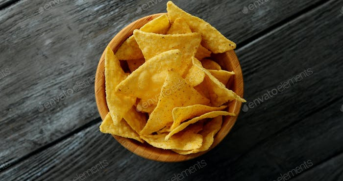 Bowl of golden crispy chips