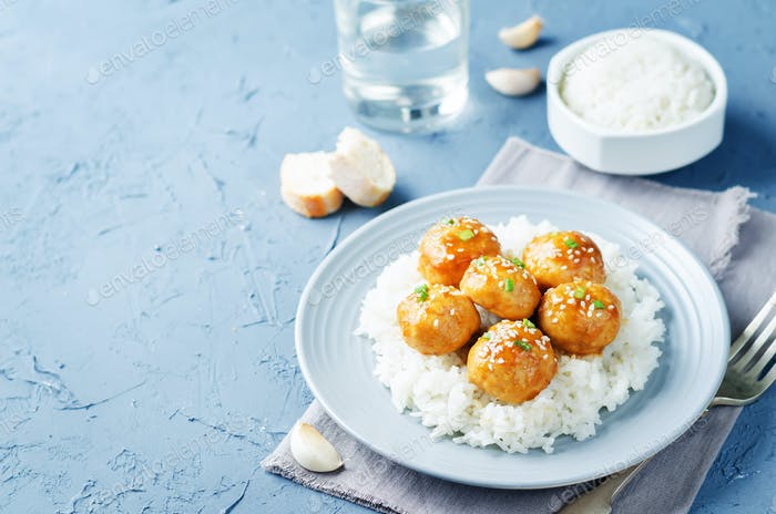 Baked Orange Chicken Meatballs with rice