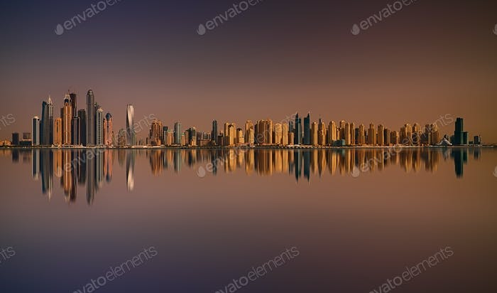 Sunset panorama of Dubai Marina, Dubai, United Arab Emirates