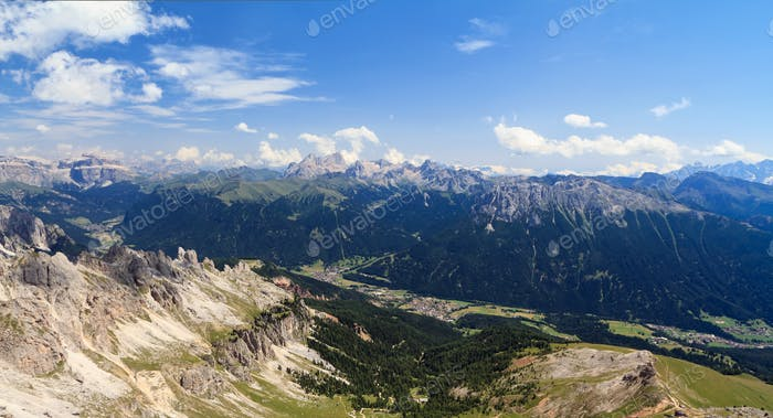 Val di Fassa aerial view