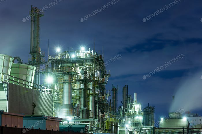 Factory working at night in kawasaki