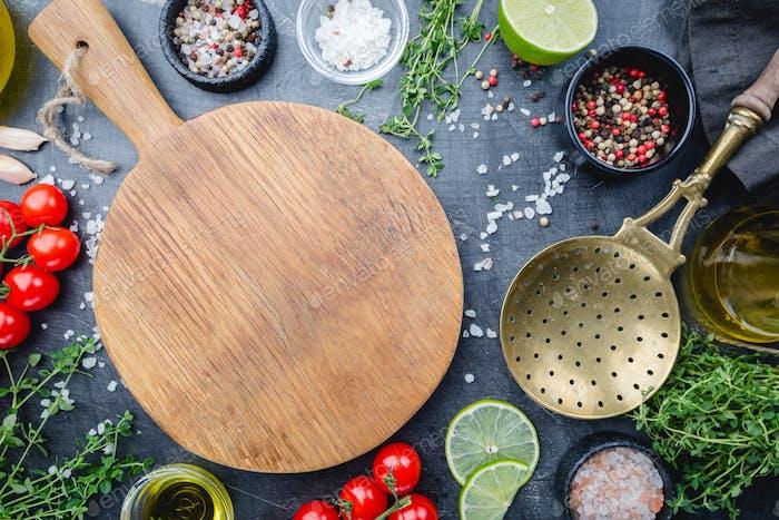 Food background on black table