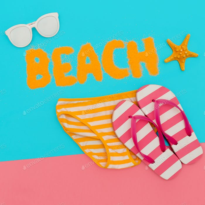 Beach mood. Summer time. Minimal art set