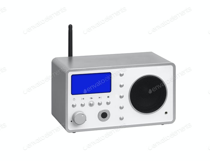 Radio receiver on a white background