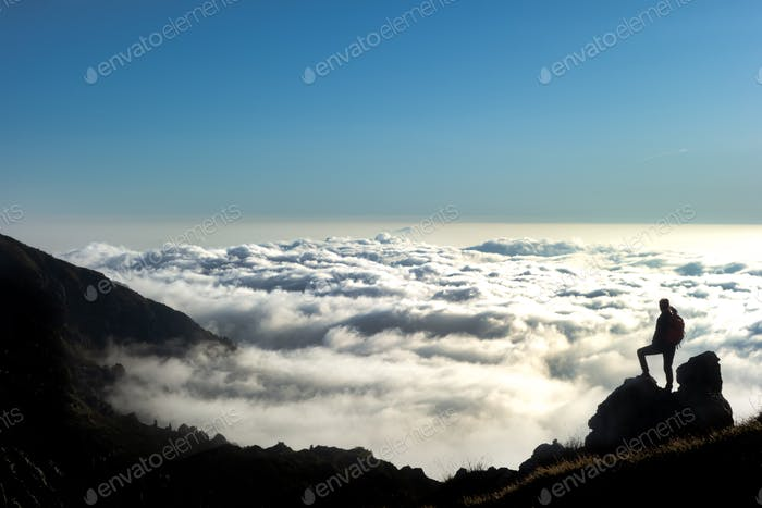 Look at the horizon in a sea of clouds