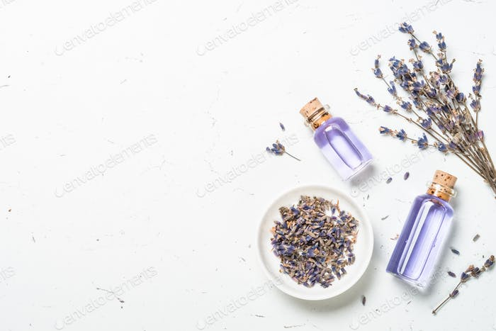 Lavender essential oil on white