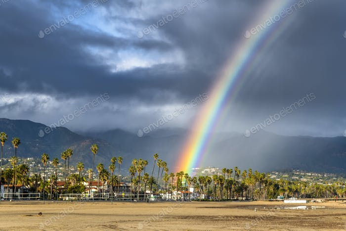 Rainbow during storm in Santa Barbara