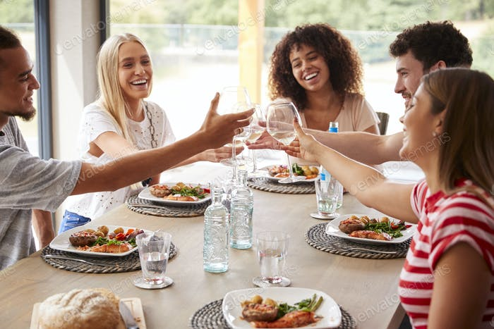 Multi ethnic group of five happy young adult friends laughing and raising glasses