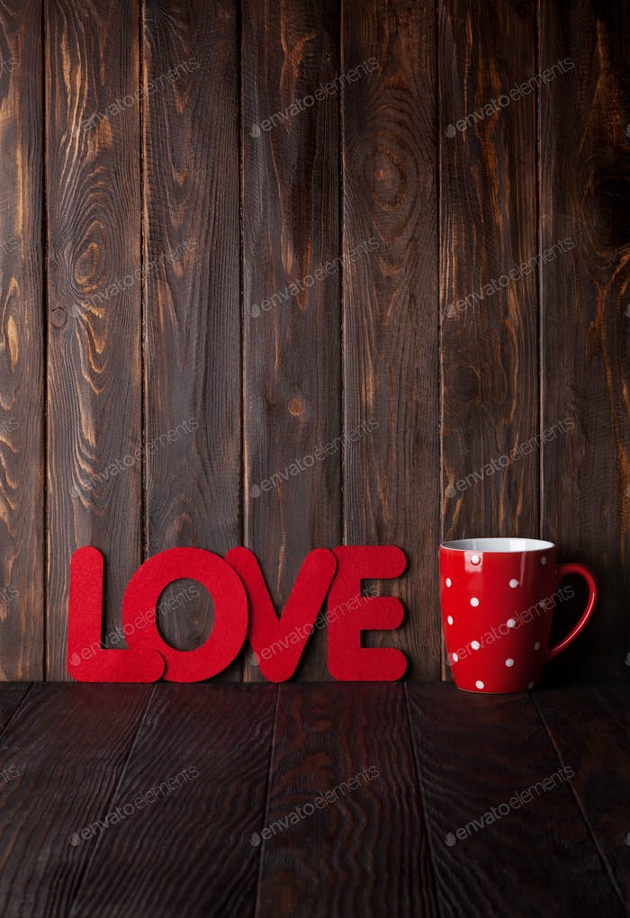 Valentines day greeting card with hot drink cup