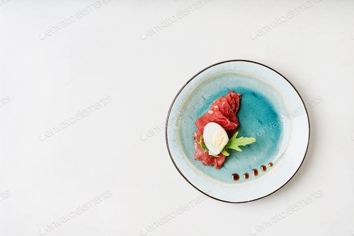 Marbled beef carpaccio.