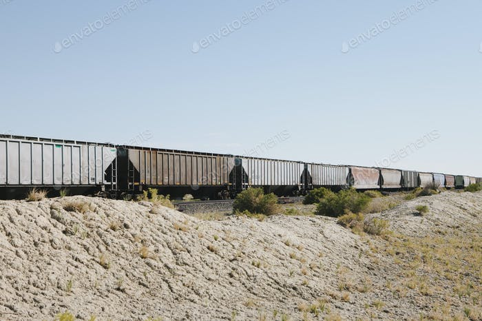 Wagons of a train crossing the Black Rock Desert.