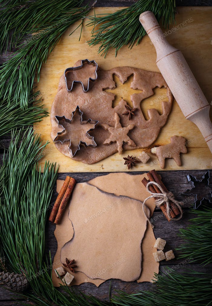 Christmas gingerbread  cookies dough, cutters, spices and rolling pin