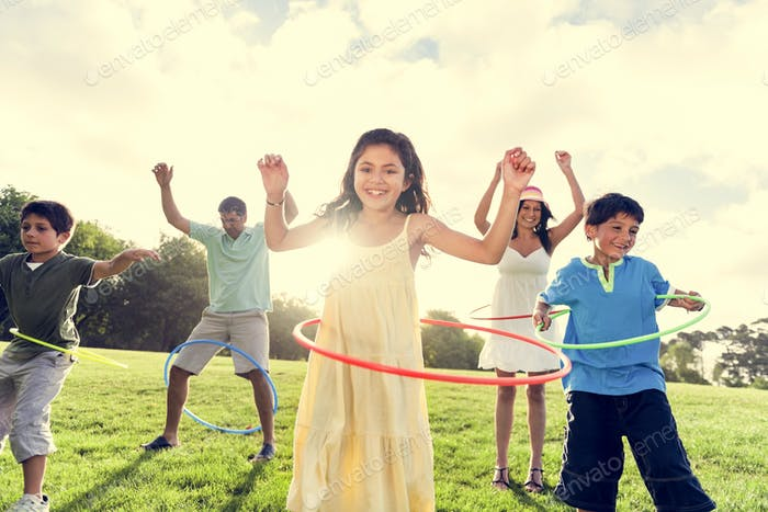 Hula Hoop Enjoying Cheerful Outdoors Leisure Concept