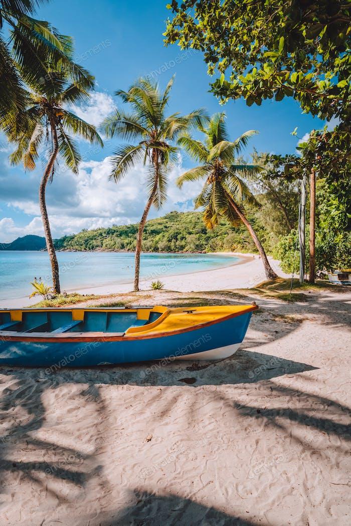 Mahe Insel, Seychellen. Lokale lebendige farbige Boot unter Kokospalmen am sonnigen Tag am Ufer des