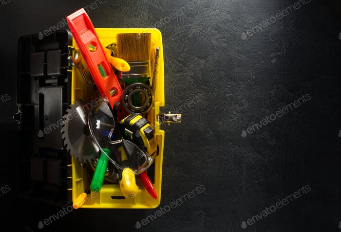 tools and instruments in toolbox