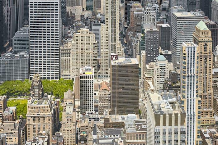 Aerial view of the Manhattan, New York, USA.