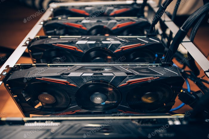Close up details of modern mining rig with gpu.