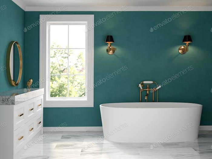 Interior bathroom classic style 3D rendering