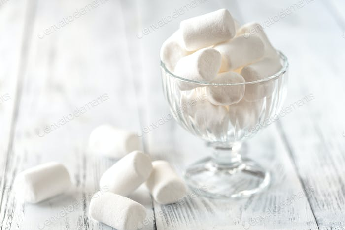 Glass bowl of marshmallows