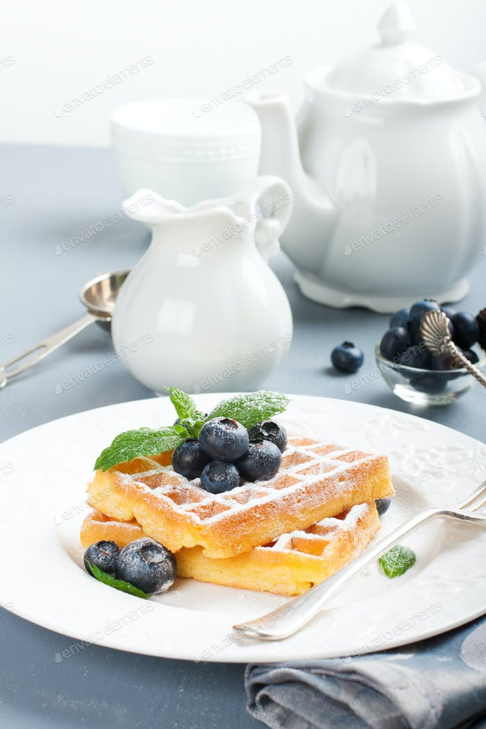 Plate of belgian waffles with fresh berries