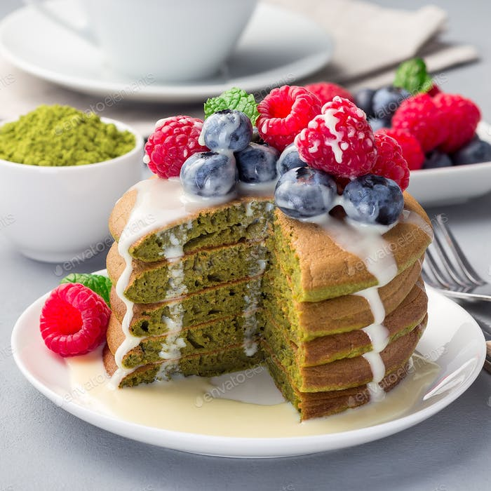 Cuted stack of matcha pancakes, square