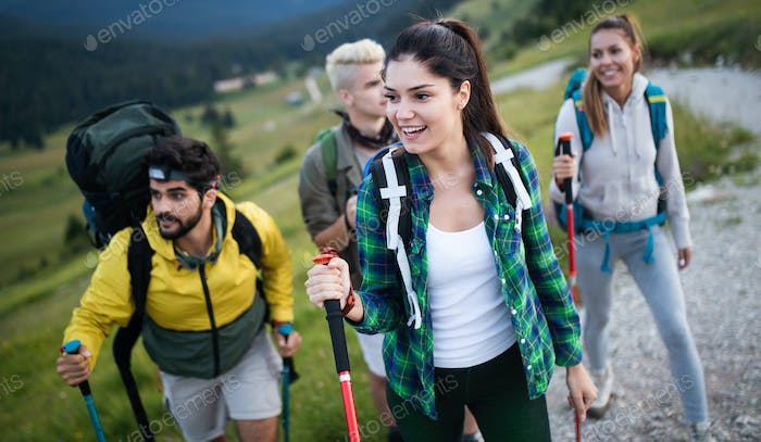 Trek Hiking Destination Experience Adventure Happy Lifestyle Concept