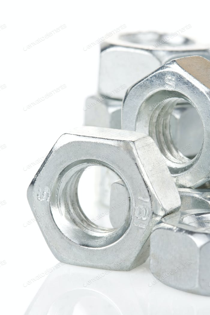 metal nuts tool on white