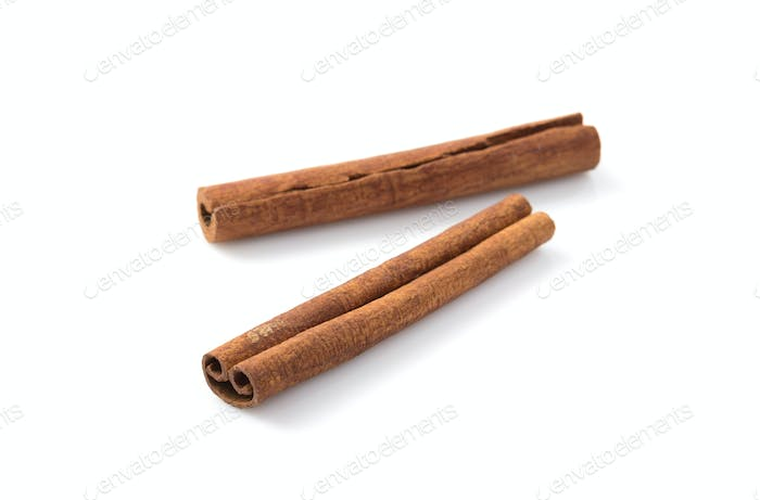 cinnamon stick on white background