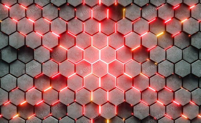 Ilustración 3D. Fondo abstracto hexagonal.