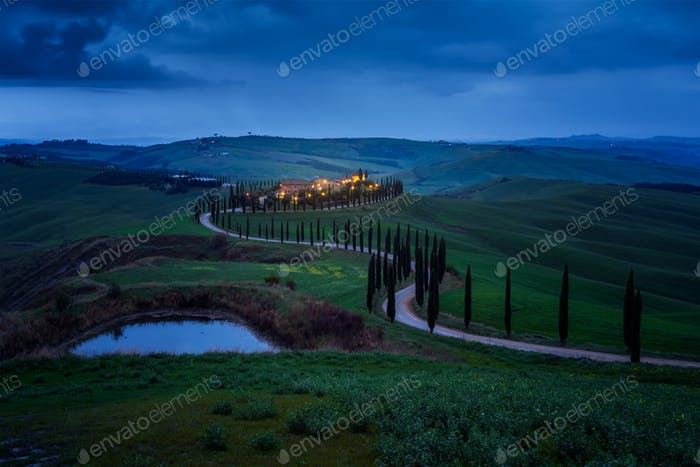 Tuscany landscape in night