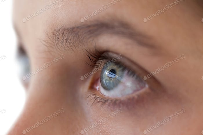 Girls eye and nose against white background