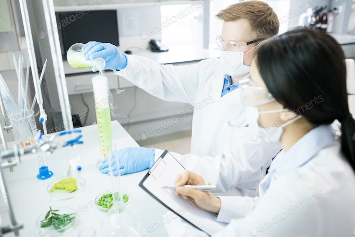 Microbiologists conducting experiment with green vegetable sample