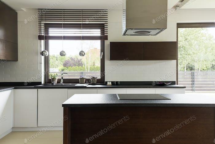 Cocina Moderno con gabinete blanco