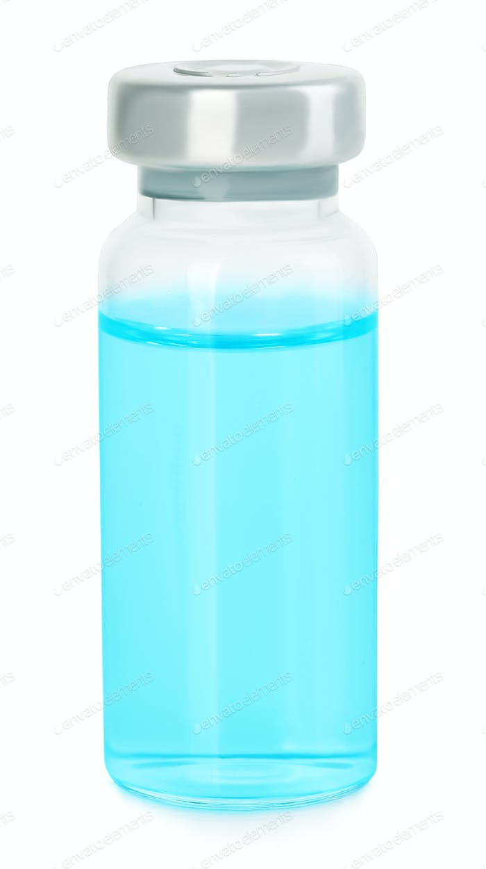 Medical vial with blue solution for injection on white background.