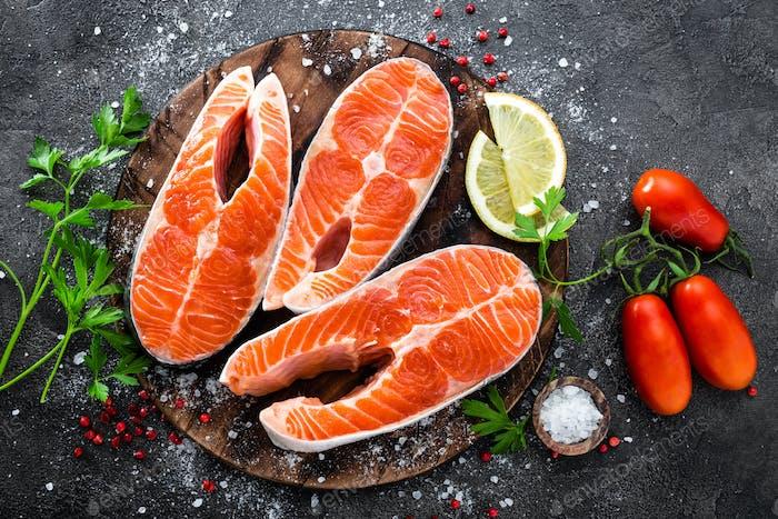 Raw salmon fish. Fresh salmon steaks