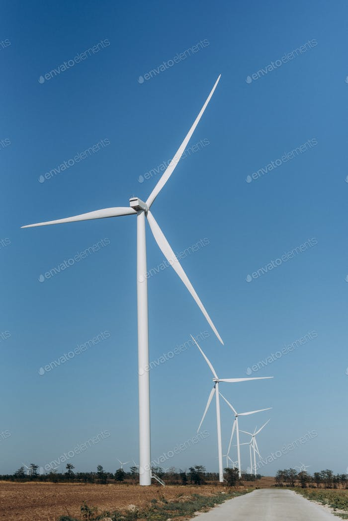 wind power station, loyal generators with blades