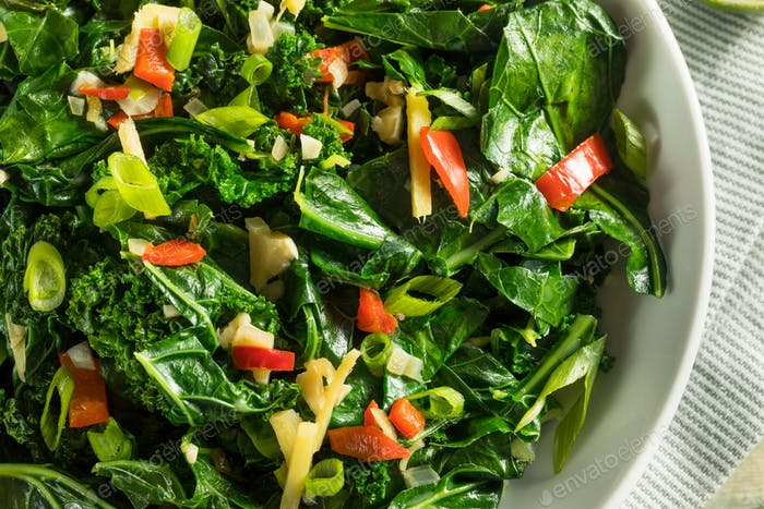 Homemade Organic Green Collard Greens