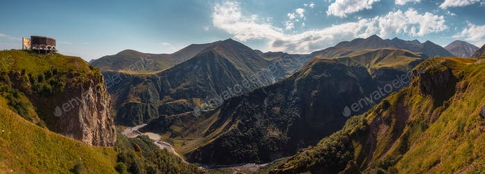 Panoramic landscape view of beautiful Kazbegi mountains, Country of Georgia