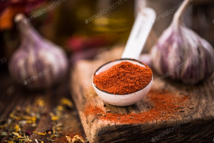 Red paprika powder on spoon